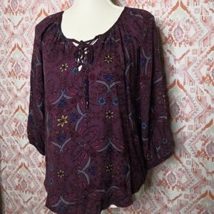 Lovestitch  Small  Peasant Top Floral Purple